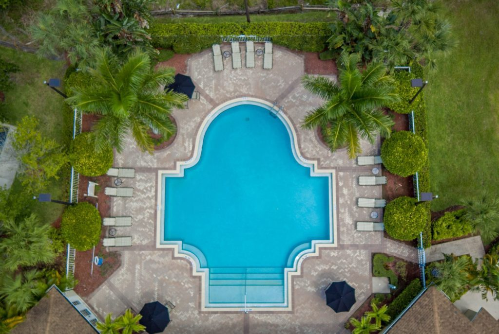 Aerial view of Resort-style swimming pool at Kitterman Woods, Port St. Lucie, Florida
