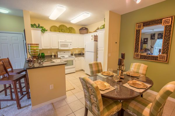 Two bedroom model dining room & kitchen at Kitterman Woods