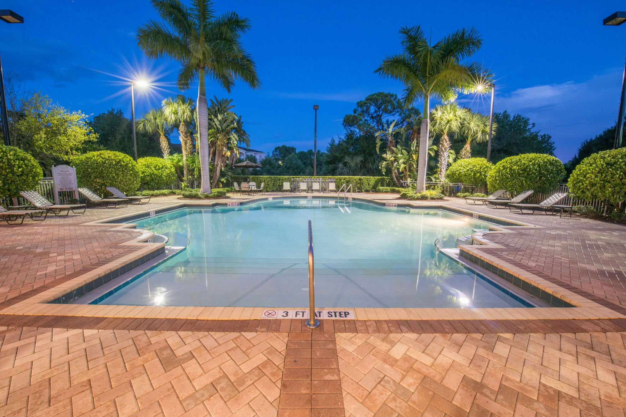 Clubhouse pool at night.