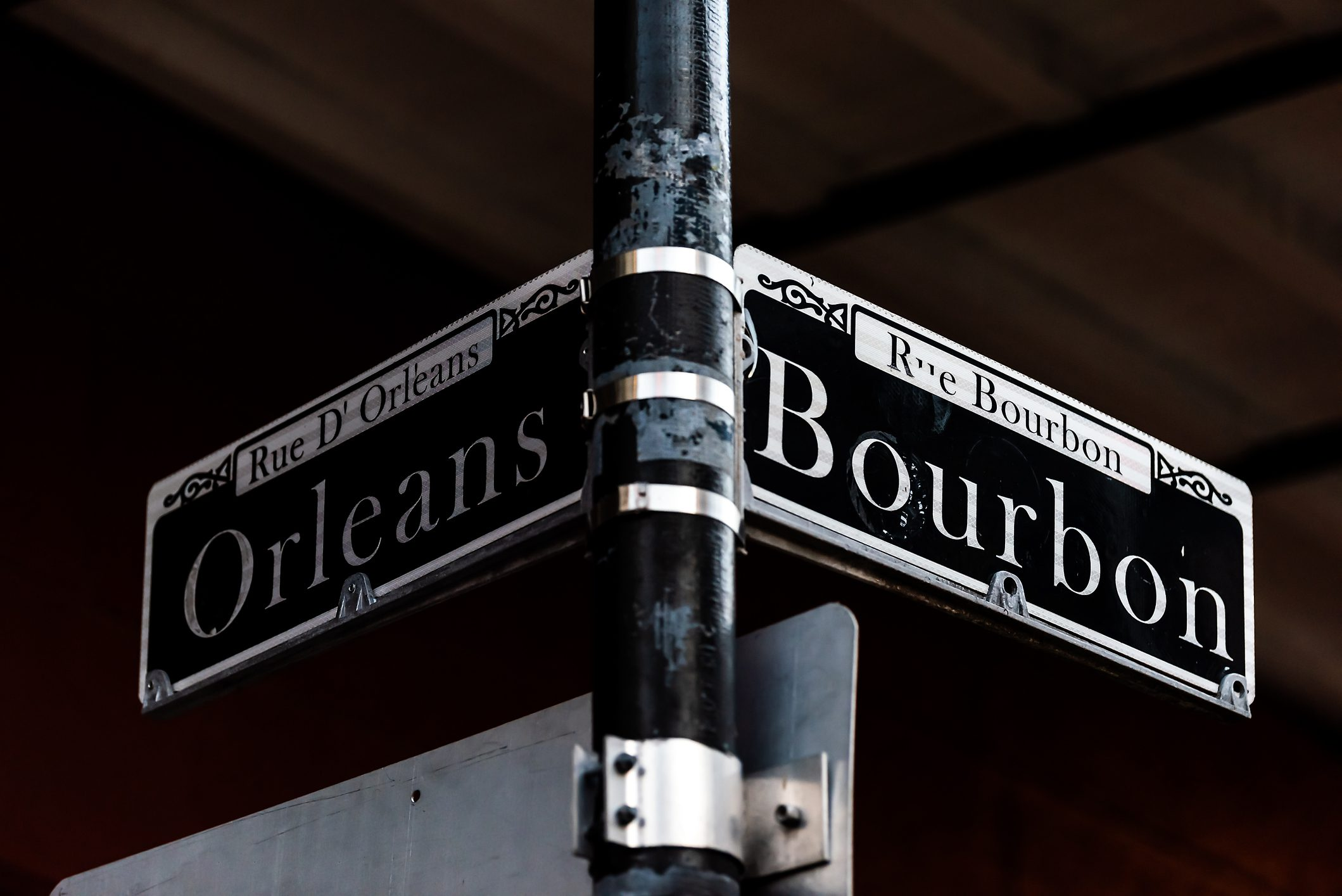 Orleans and Bourbon Streets Sign