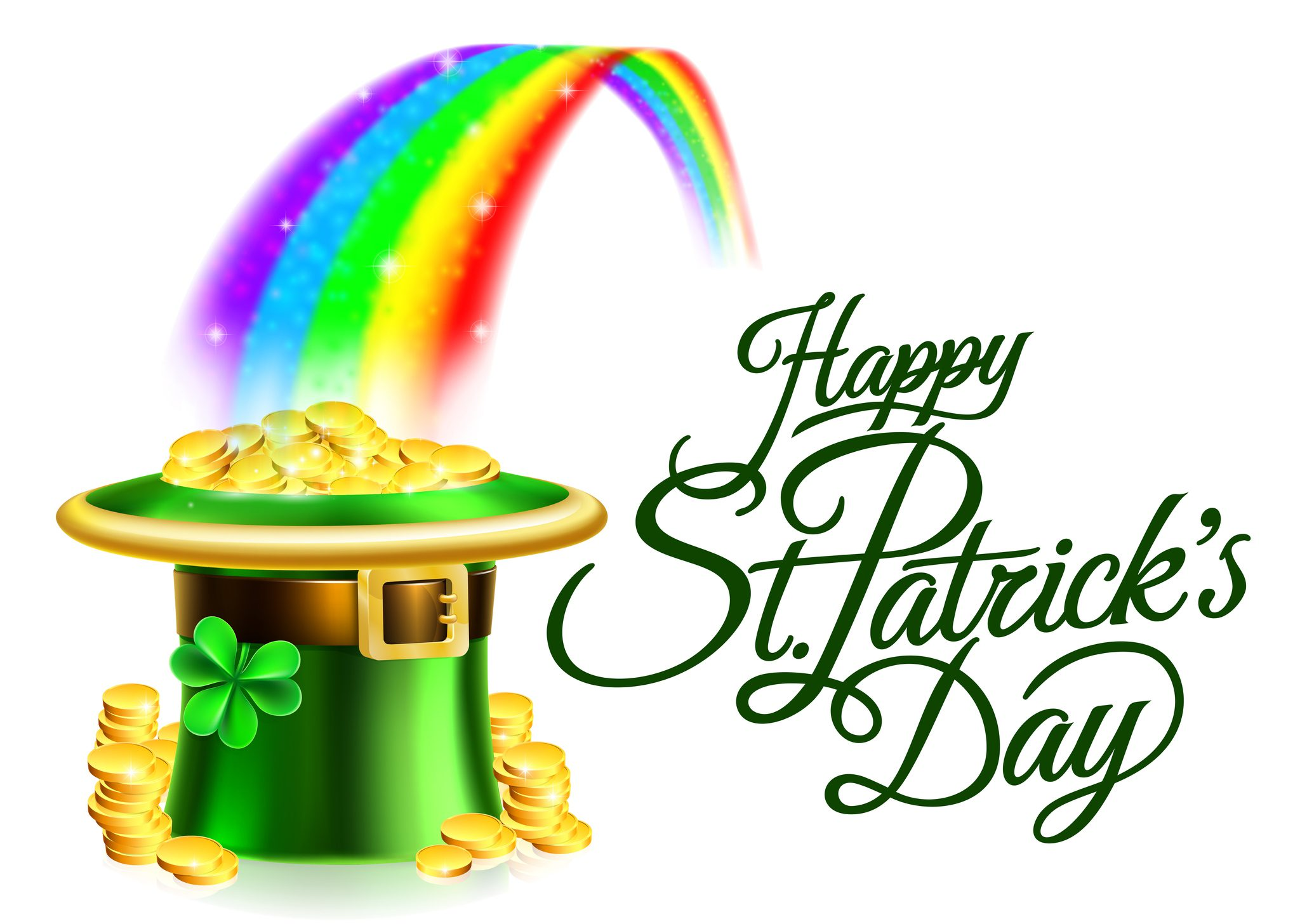 Leprechaun Hat Rainbow Happy St Patricks Day Sign