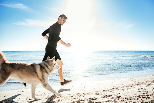 Running man with husky dog ThinkstockPhotos-639012806