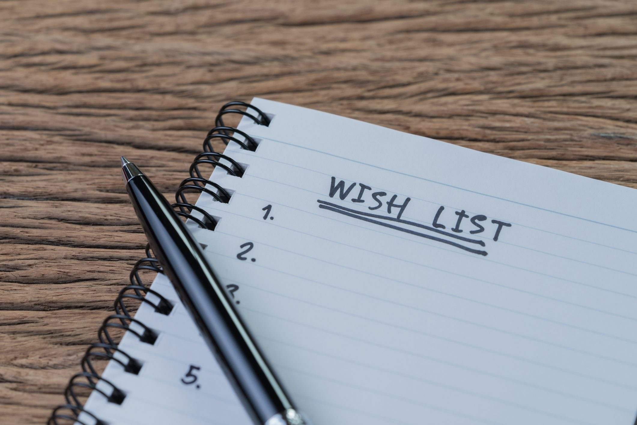 Wish list with Pen and Paper
