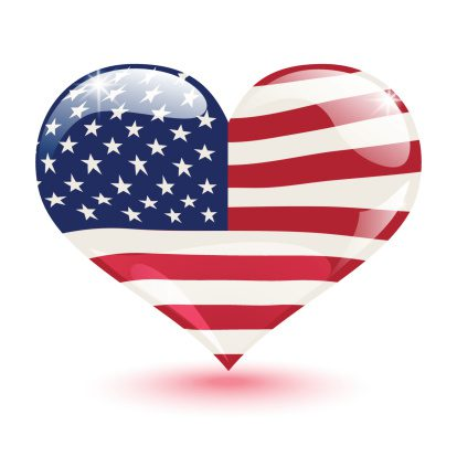 United States flag in the form of a heart
