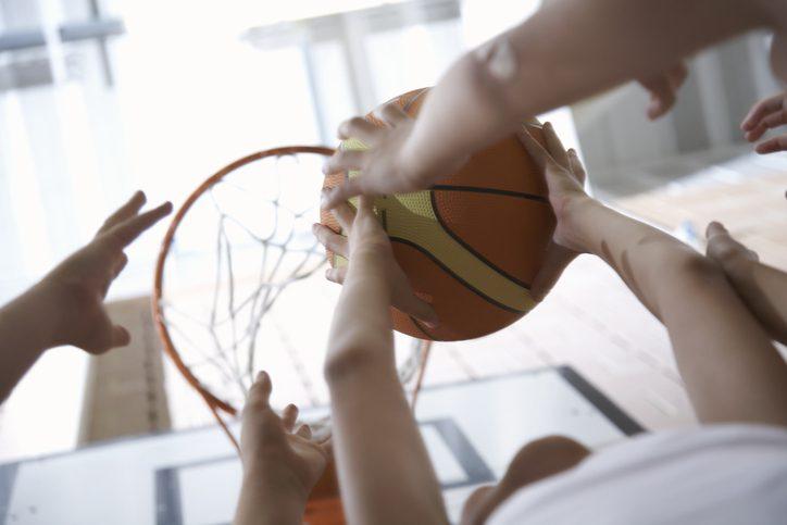 basketball under hoop