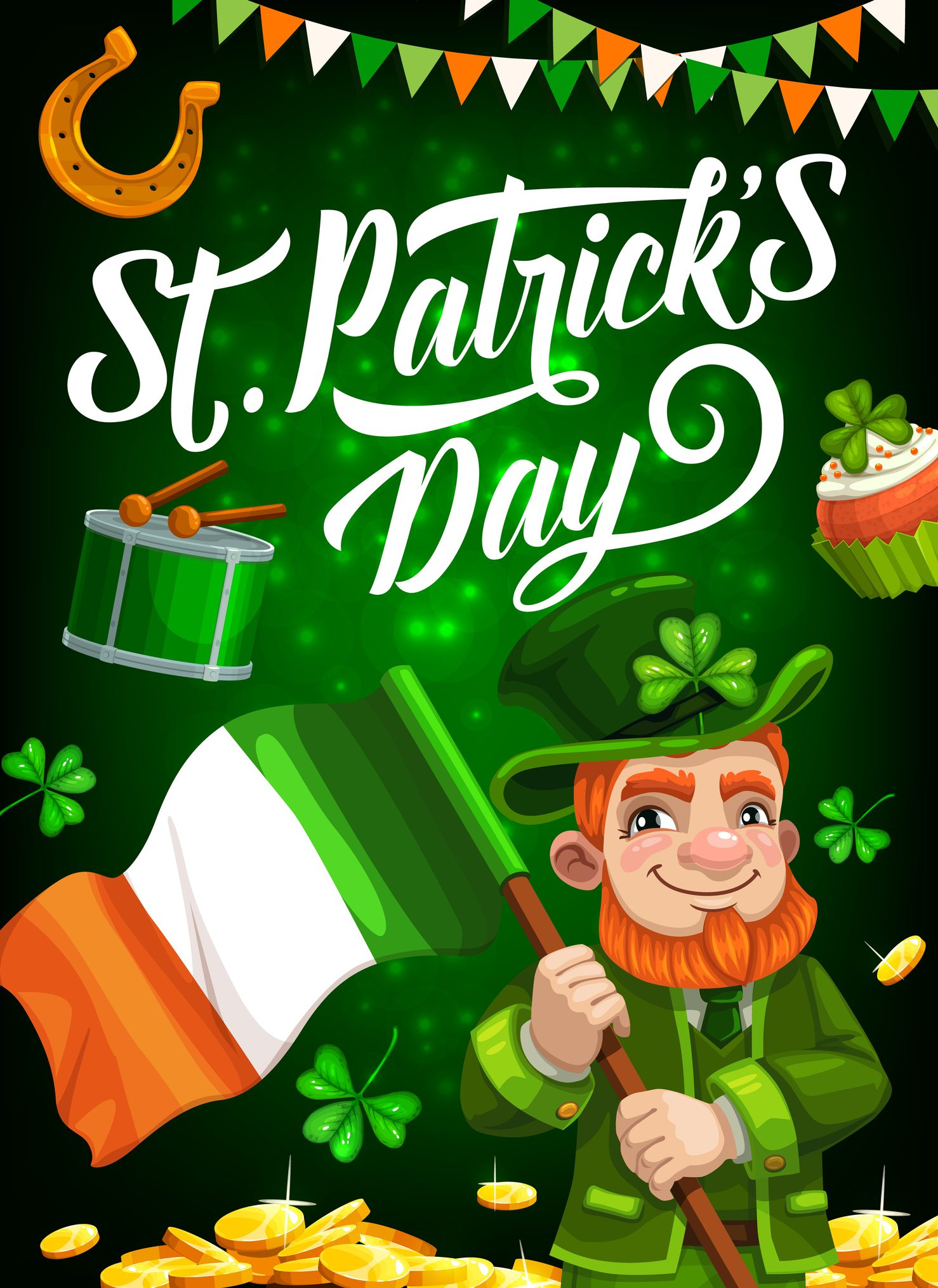 St Patricks Day holiday irishman with Ireland flag