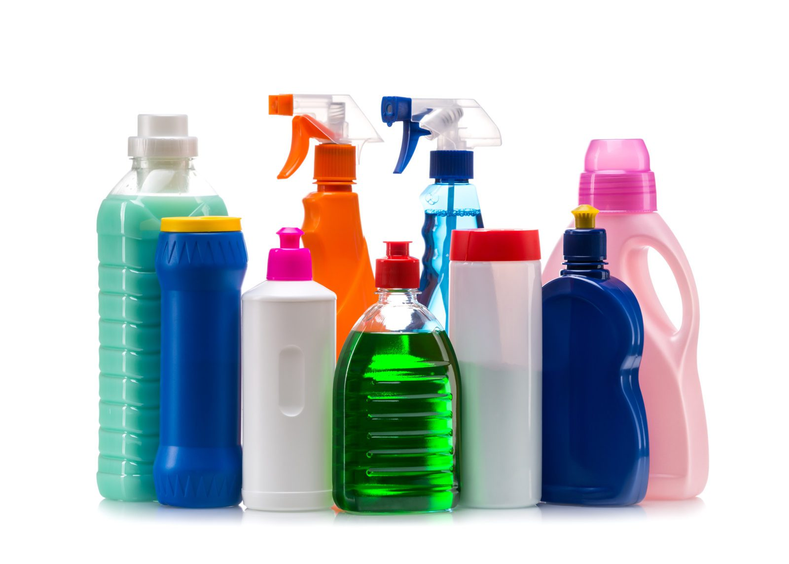 Cleaning products in plastic containers
