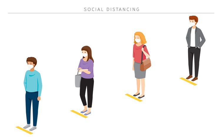 Social Distancing Concept, People Wearing Surgical Masks Standing With Distance