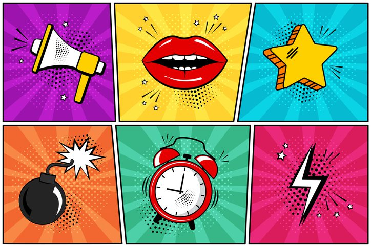 animation - comic - displaying in bright colors a bullhorn, red lips, yellow star, bomb, red and white alarm clock and a lightening bolt.