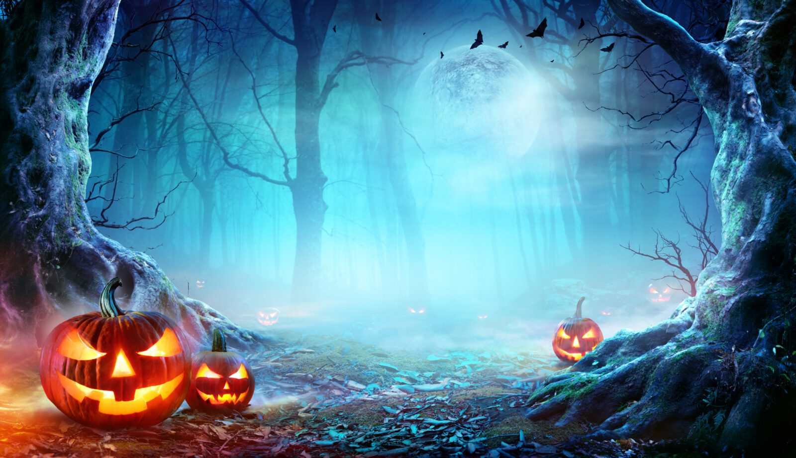 Jack O' Lanterns In Spooky Forest with moonlight and fog in the background.