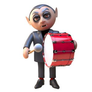 3d dracula vampire character dressed in black and beating a death march on a bass drum, 3d illustration