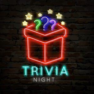 Trivia night neon symbol. Quiz pub poster for night bar party.