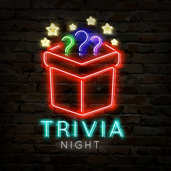 Trivia night neon symbol. Quiz pub poster for night bar party.