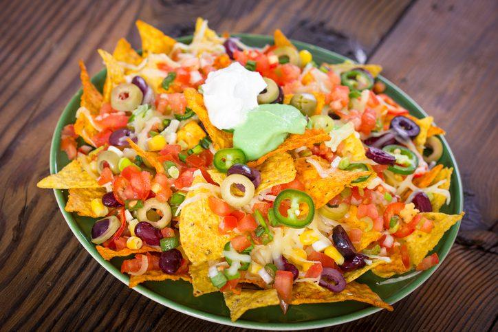 Fresh nachos on the table closeup